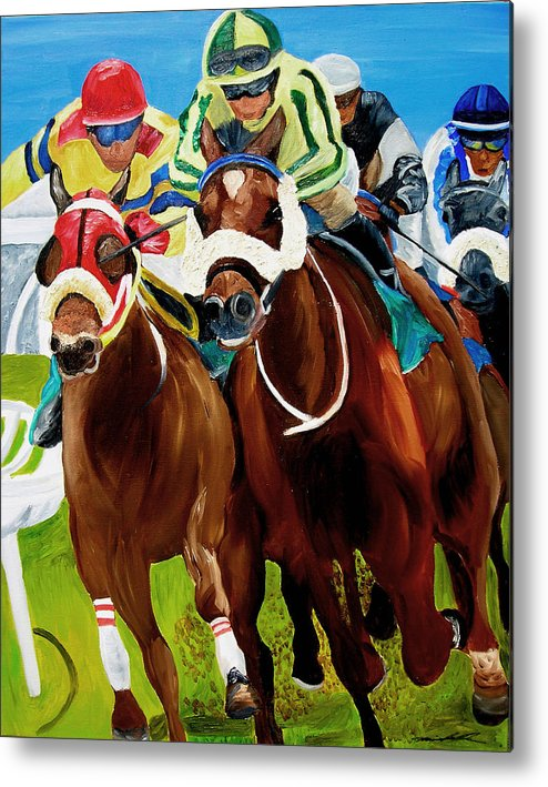 Horse Racing Metal Print featuring the painting Rounding The Bend by Michael Lee