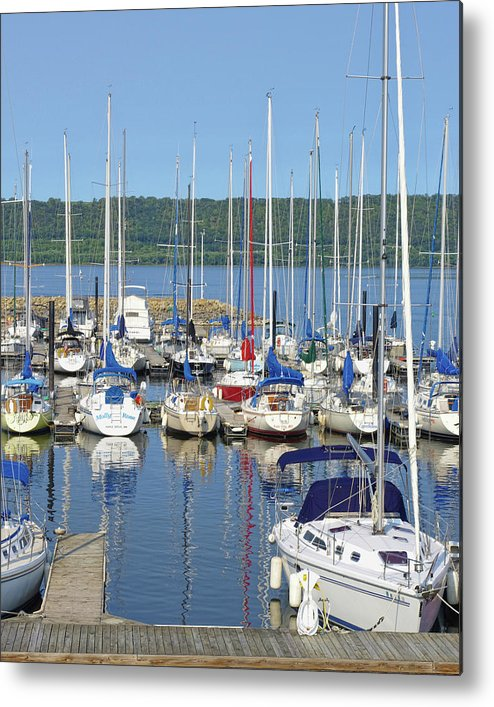 Sailboats Metal Print featuring the photograph Sailboat Reflections by Tom Reynen