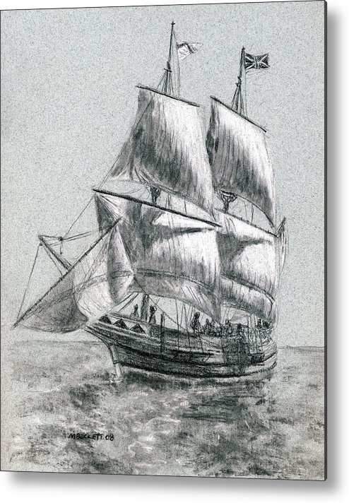 Seascape Metal Print featuring the drawing Sailing by Michael Beckett