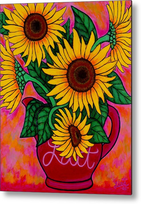 Sunflowers Metal Print featuring the painting Saturday Morning Sunflowers by Lisa Lorenz