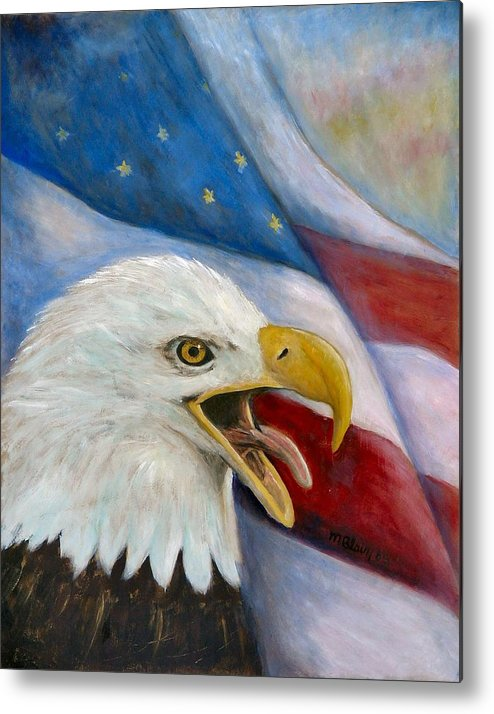 Birds Metal Print featuring the painting Screaming Eagle by Merle Blair