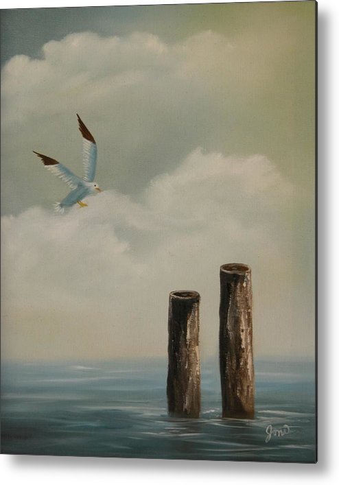 Seascape Metal Print featuring the painting Seagull Landing by Joni McPherson