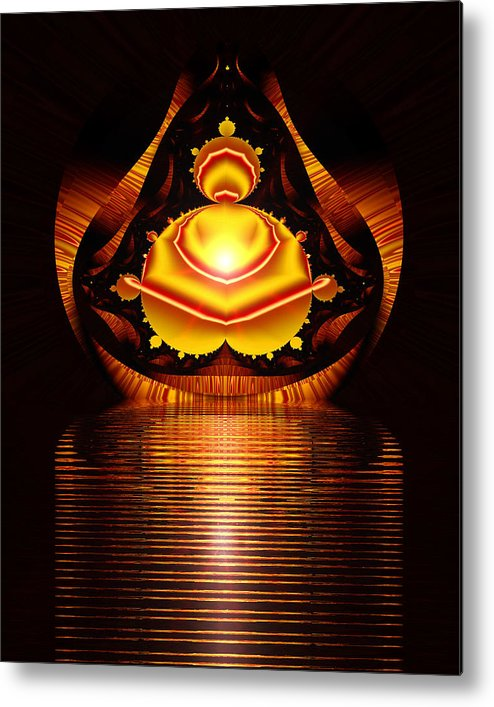 Digital Metal Print featuring the digital art Seated Buddha by Roger Soule