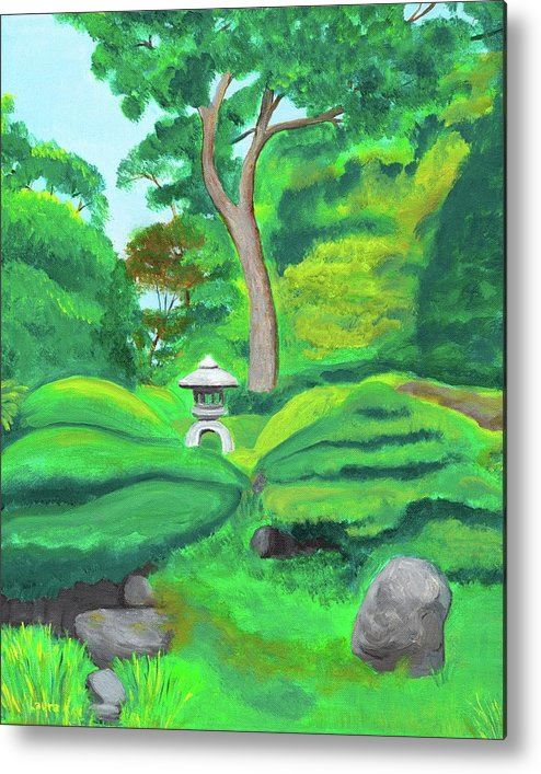 Japanese Tea Garden Metal Print featuring the painting Serenity by Laura Zoellner