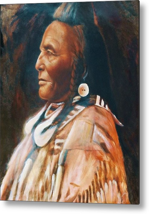 Native American Metal Print featuring the painting Shot In The Hand by Elizabeth Silk