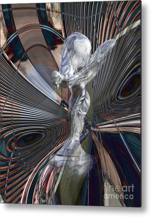 Car Metal Print featuring the digital art Silver Shadow by Chuck Brittenham