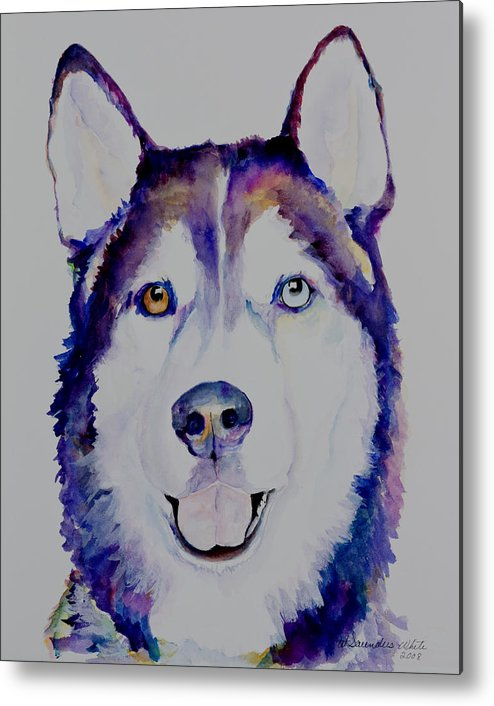 Siberian Husky Metal Print featuring the painting Simba by Pat Saunders-White
