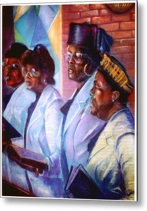 Church Metal Print featuring the pastel Singin His Praises by Tommy Winn