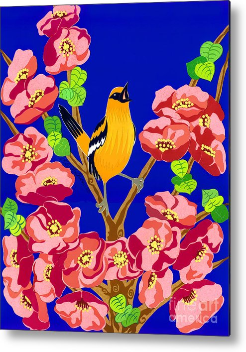 Nature Metal Print featuring the drawing Singing Oriole by Lucyna A M Green