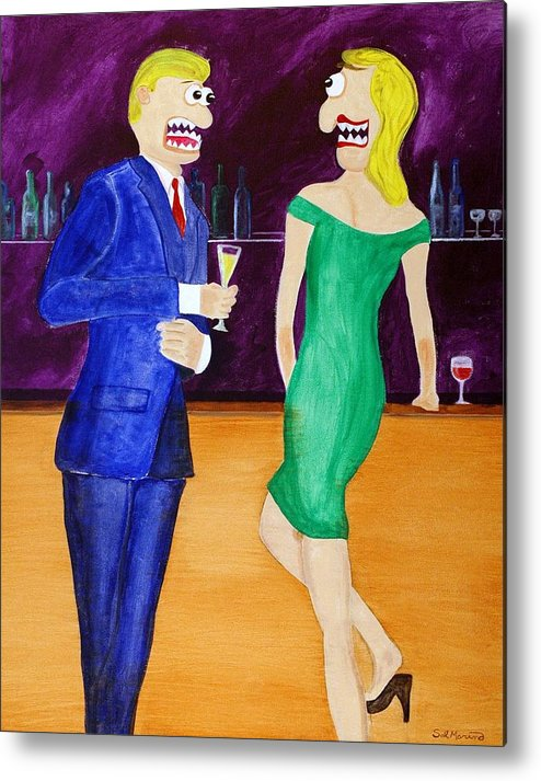Funism Metal Print featuring the painting Small Talk by Sal Marino