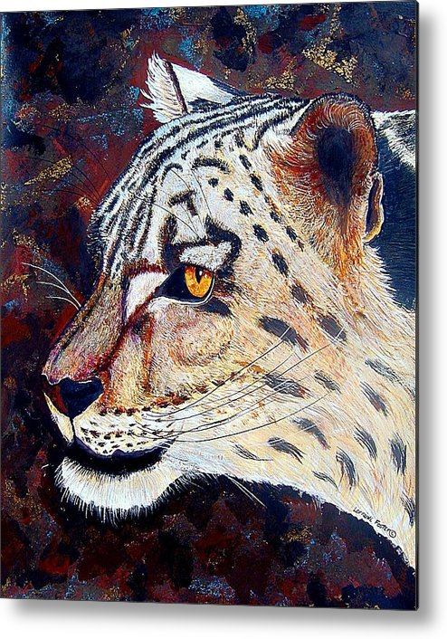 Metal Print featuring the mixed media Snow Leopard by Lorraine Foster