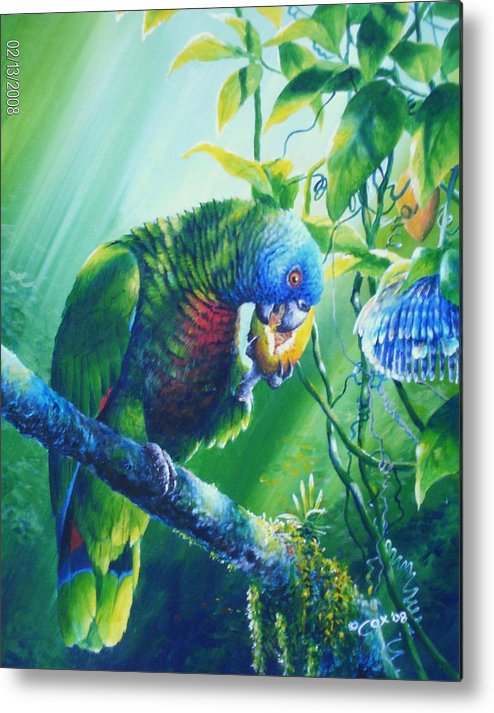 Chris Cox Metal Print featuring the painting St. Lucia Parrot And Wild Passionfruit by Christopher Cox