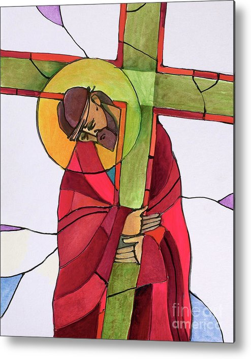 Stations Of The Cross - 02 Jesus Accepts The Cross Metal Print featuring the painting Stations Of The Cross - 02 Jesus Accepts The Cross - Mmjcs by Br Mickey McGrath OSFS