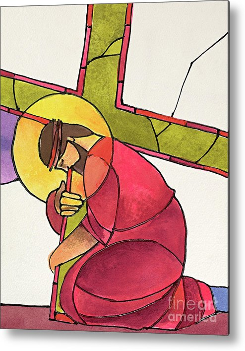 Stations Of The Cross - 03 Jesus Falls The First Time Metal Print featuring the painting Stations Of The Cross - 03 Jesus Falls The First Time - Mmjff by Br Mickey McGrath OSFS