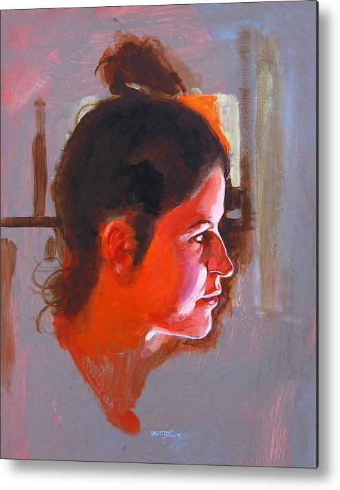 Portrait Metal Print featuring the painting Stephanie by John Tartaglione
