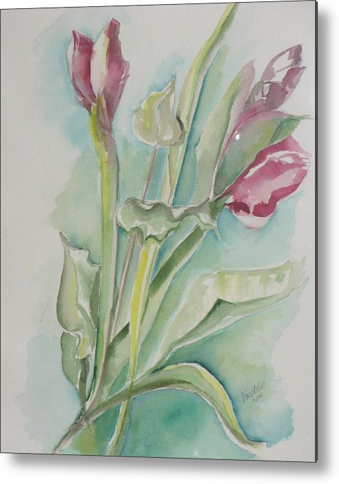 Floral Metal Print featuring the painting Still Life Spring by Kathy Mitchell