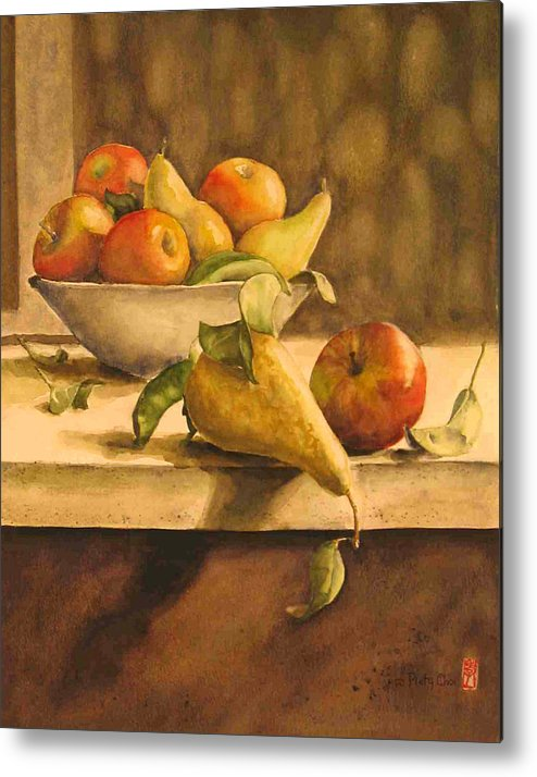 Still-life Metal Print featuring the painting Still-life With Apples And Pears by Piety Choi