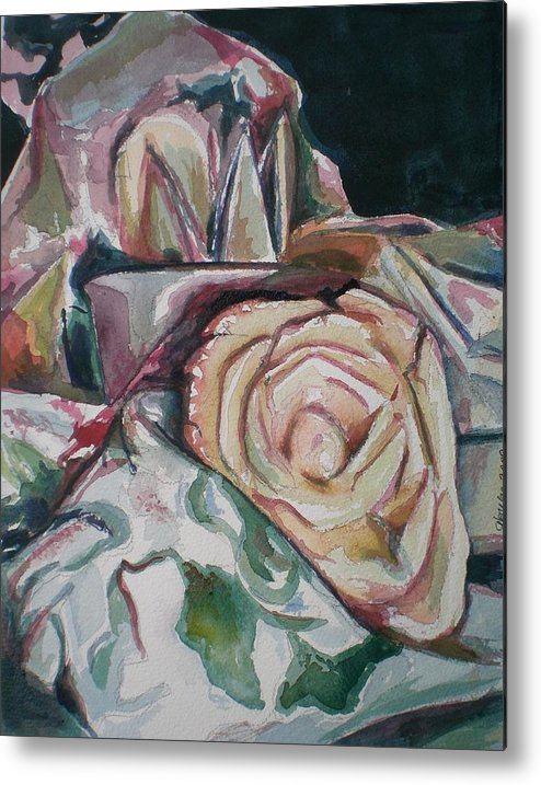 Still Life Metal Print featuring the painting Still Life With Yellow Rose by Aleksandra Buha