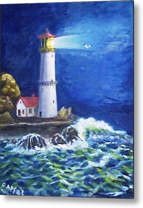 Light House Metal Print featuring the painting Stormy Night by Gloria M Apfel