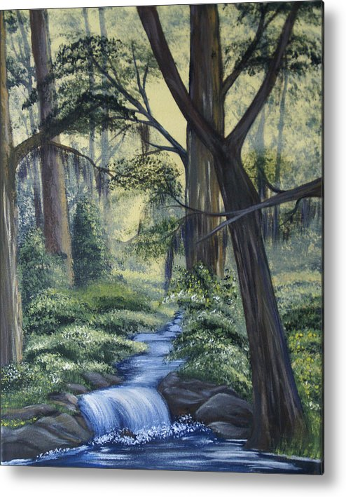 Landscape Metal Print featuring the painting Stream In The Low Country by Judy Moses