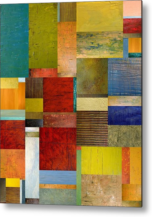 Textural Metal Print featuring the painting Strips And Pieces L by Michelle Calkins