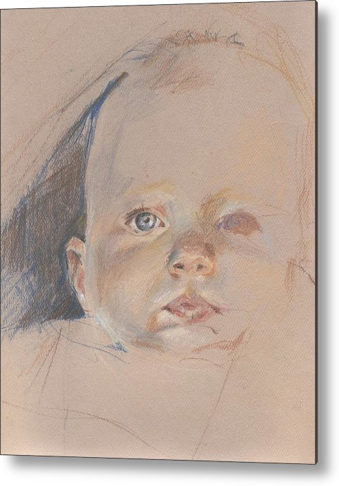 Figurative Metal Print featuring the drawing Study Of Young Baby by Sarah Madsen