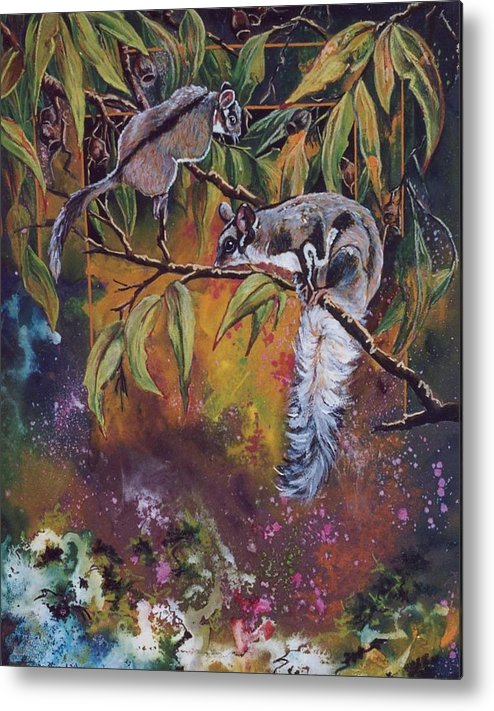 Sugar Gliders Metal Print featuring the painting Sugar Gliders by Sue Linton