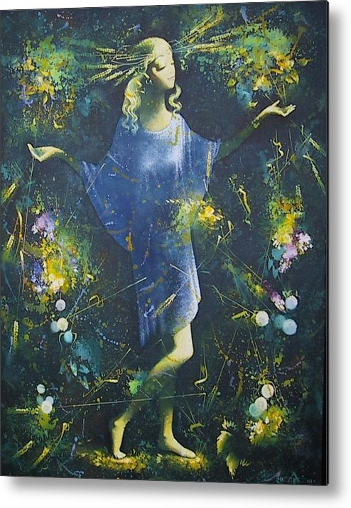 Figures Metal Print featuring the painting Summer by Andrej Vystropov