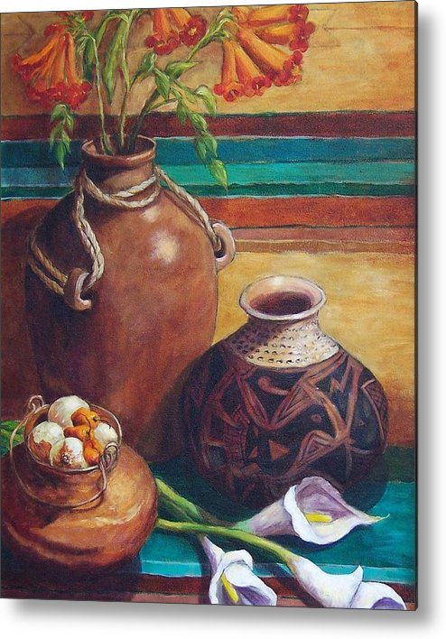 Still Life Metal Print featuring the painting Summer Still Life by Candy Mayer