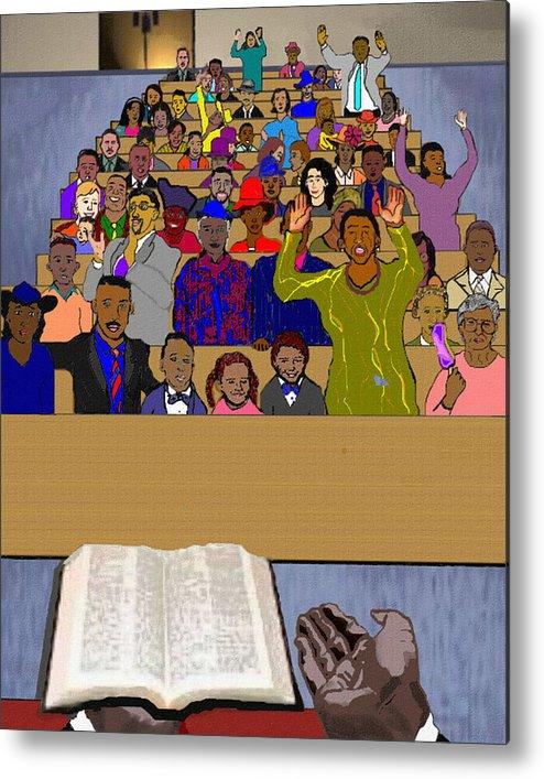 Sermon Metal Print featuring the painting Sunday Sermon by Pharris Art