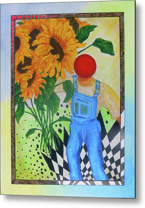 Sunflower Metal Print featuring the painting Sunflower Power by Bobby Jones