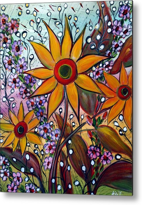 Flowers Metal Print featuring the painting Sunflowers by Luiza Vizoli