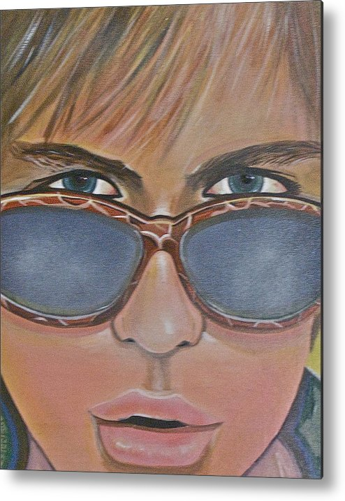 Portrait Metal Print featuring the painting Sunglasses by Duncan James