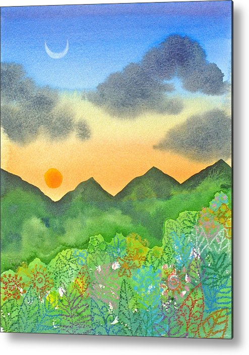Jungle Forest Mountains Sunset Crescent Moon Tropical Metal Print featuring the painting Sunset Over The Forest- Cloaked Mountains by Jennifer Baird