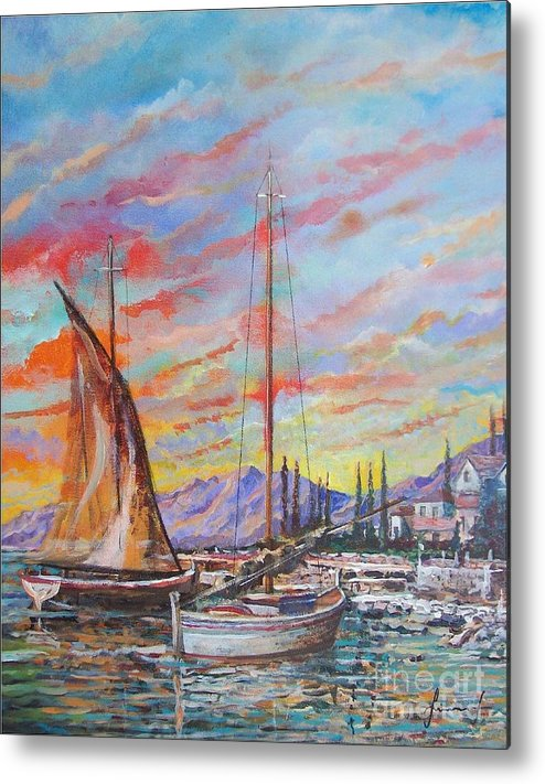 Original Painting Metal Print featuring the painting Sunset by Sinisa Saratlic