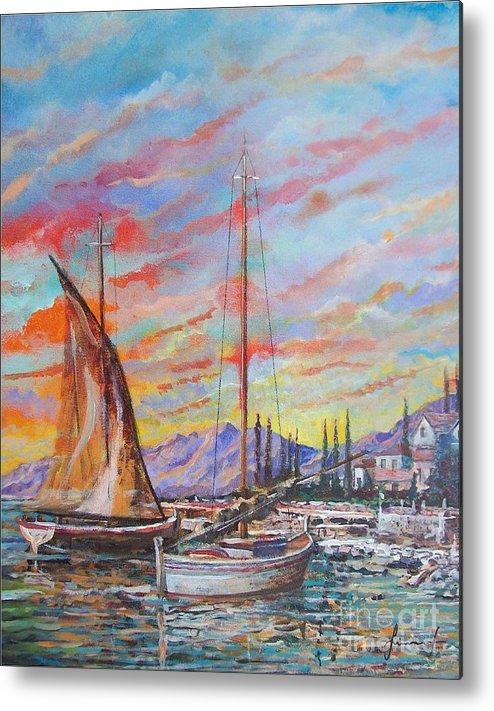 Original Painting Metal Print featuring the painting Sunset by Sinisa Saratlic
