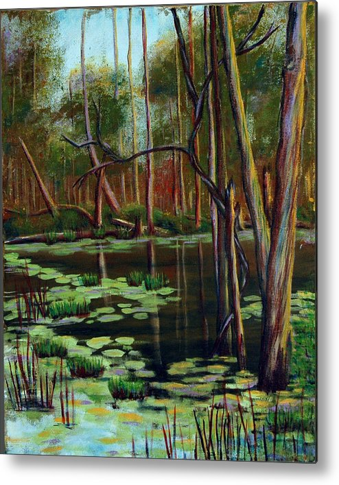 Swamp Metal Print featuring the painting Swamp Reflections by Art Nomad Sandra Hansen