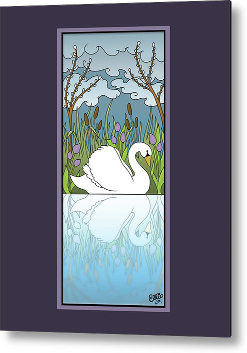 Swan Metal Print featuring the digital art Swan On The River by Eleanor Hofer