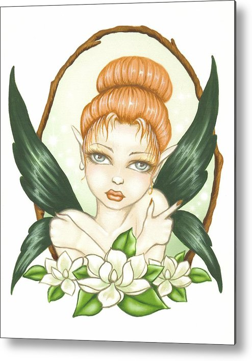 Magnolia Metal Print featuring the painting Sweet Magnolia Fae by Elaina Wagner