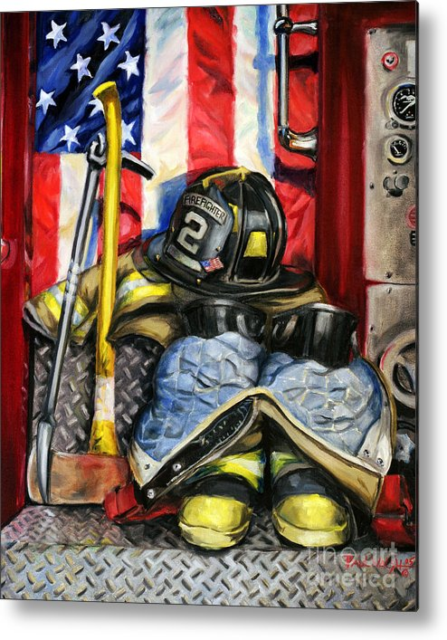 Firefighting Metal Print featuring the painting Symbols Of Heroism by Paul Walsh