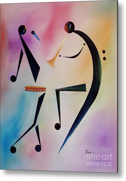 Trumpet Metal Print featuring the painting Tambourine Jam by Ikahl Beckford