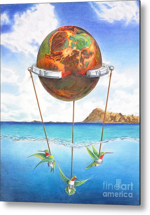 Surreal Metal Print featuring the painting Tethered Sphere by Melissa A Benson