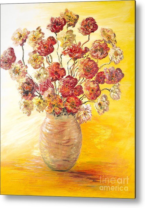 Flowers Metal Print featuring the painting Textured Flowers In A Vase by Nadine Rippelmeyer