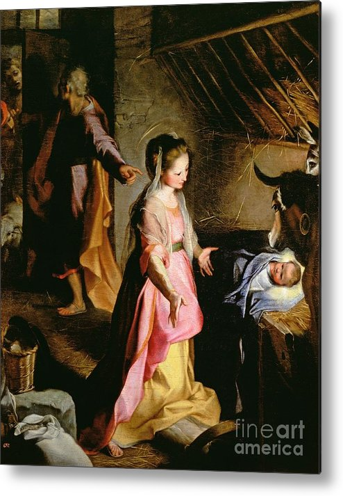 Nativity Metal Print featuring the painting The Adoration Of The Child by Federico Fiori Barocci or Baroccio