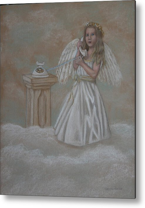 Angel Metal Print featuring the painting The Answer Is On The Way by Sandra Poirier