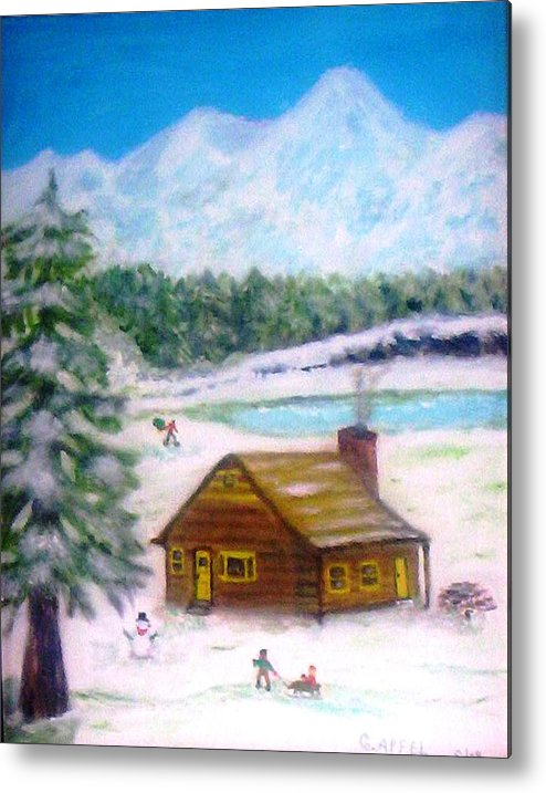 Pine Trees Metal Print featuring the painting The Big Pine by Gloria M Apfel
