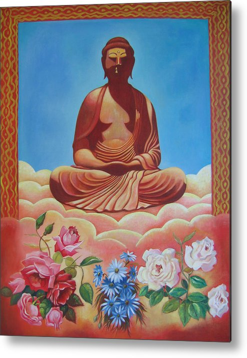 People Metal Print featuring the painting The Budha by Hiske Tas Bain