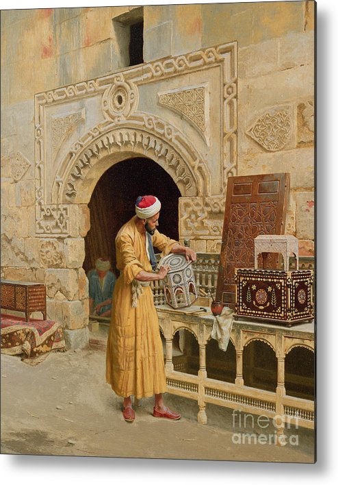 The Metal Print featuring the painting The Furniture Maker by Ludwig Deutsch