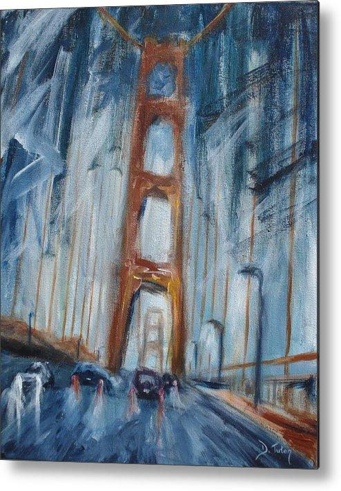Golden Gate Bridge Metal Print featuring the painting The Golden Gate by Donna Tuten