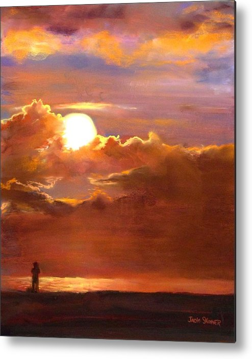 Sunset Metal Print featuring the painting The Last Cast by Jack Skinner